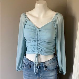 American Threads Blue Cinched Crop Top